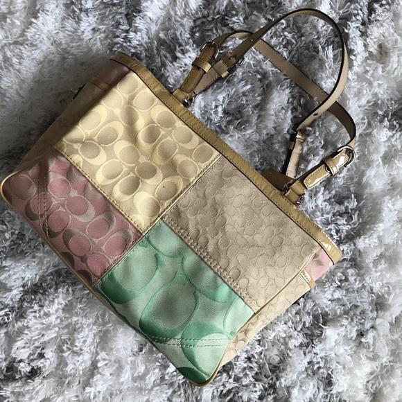 Rare Vintage Coach patchwork shoulder bag